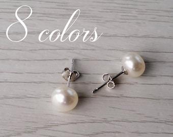 Freshwater pearl earrings, real pearl earrings, pearl earrings, white pearl earrings, real pearl, gift for girlfriend, earings, pearl studs