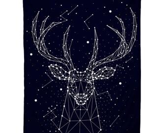 Reindeer Sky, Illustration Tapestry