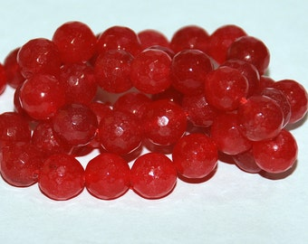 Half Strand 8mm Faceted Red Jade Gemstone Beads - 22 beads #4