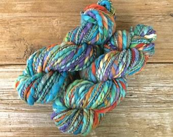 Hand Spun Hand Dyed Organic Polwarth Wool Yarn Thick and Thin: Koi Pond blue teal turquoise rust purple taupe art yarn
