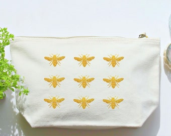 Bee Make Up Bag,Canvas Wash Bag, Large Zipper Pouch, Make Up Bag, Toiletry Bag,Accessory Bag,Teen Gift,Beekeeper Gift,Canvas Accessory Bag