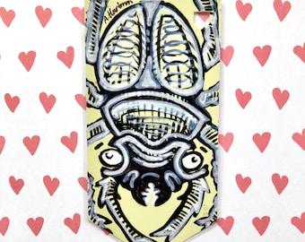 CHILL BEETLE handpainted bookmark OOAK
