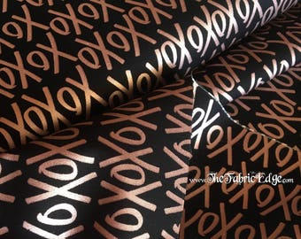 Yes Please, XoXo, Rose Gold on Black, Metallic, Riley Blake, Fabric by the Yard, Hugs and Kisses, Cotton, TheFabricEdge