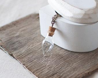 Dandelion Necklace. Real Dandelion Seed Necklace. Wish Necklace. Botanical Necklace. Glass Bottle Necklace. Vial Necklace. Nature Lover Gift
