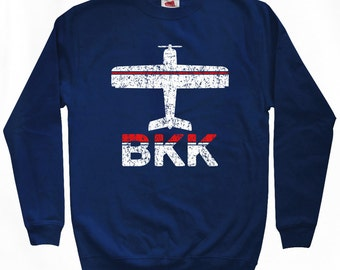 Fly Bangkok Sweatshirt - BKK Airport - Men S M L XL 2x 3x - Thailand Crewneck - 2 Colors