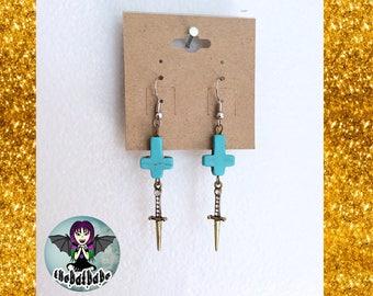 Inverted Cross Dagger Earrings