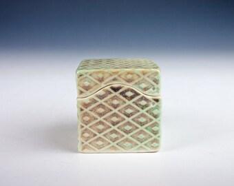 Small grey-green ceramic box, ring box, earring box, diamond surface pattern, slab built, porcelain, handmade pottery