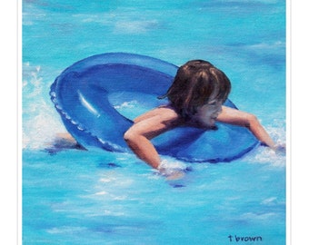 pool. figurative. fine art print. little boy. blue. floatie. pool toys. splash. beach. water. child. home decor. kids room. summertime.