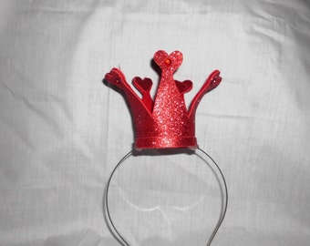 Red Heart Crown, Queen of Hearts, Mini, Tiny, Sparkle, Princess, Headband, Burlesque, Child, Kid, Adult, Costume