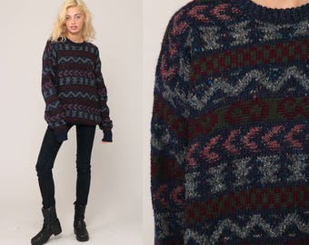 Geometric Sweater 80s Striped Zig Zag Knit Jumper 90s Sweater Boho Hipster Vintage Pullover Blue Green Retro Zigzag Retro Extra Large xl