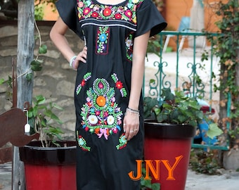 Mexican Dress Puebla Black w/ Multicolored Embroidery