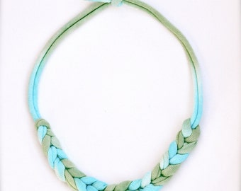 Turquoise Green Statement Necklace - Ombre - Recycled Fabric