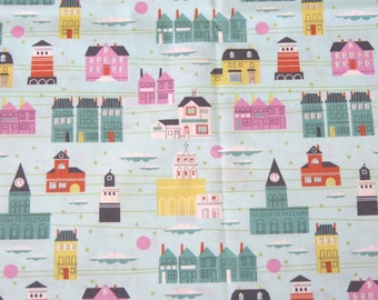 Mint green houses buildings illustration cotton fabric