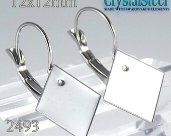 12x12mm Swarovski 2493 chessboard french clip, lever back  Hypoallergenic stainless steel