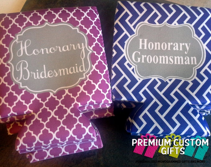 Bridal Party Can Coolers - Groomsman Can Coolers - Bridesmaid Can Coolers - Personalized Wedding Party Can Coolies - Custom Can Coolers