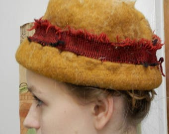 Thick Wool Felt Ethnic Hat in Yellow