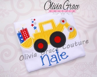 4th of July Shirt, Digger Shirt, Boys 4th of July Embroidered Applique Shirt or Bodysuit