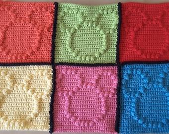 Disney Inspired Embossed Mickey Mouse Blanket Square - Crochet Pattern
