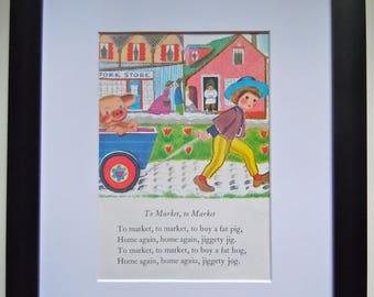 Framed Golden Book Page - Vintage Nursery Art - To Market To Market - Nursery Decor -  Mother Goose Poem - Framed and Matted - Book Art