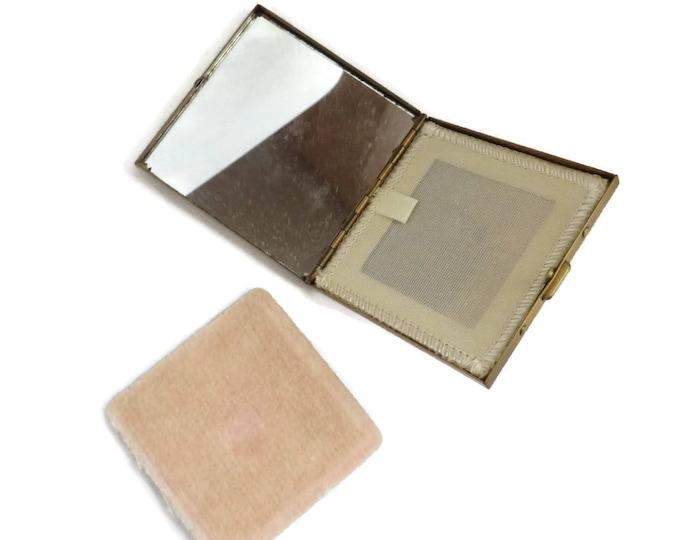 Pegi Paris Compact - Vintage Square Compact , 1950s Gold Tone Makeup Case