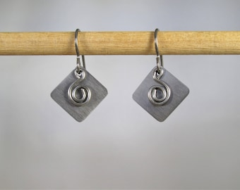 Pure Titanium Angled Square with Free Hanging Swirl Dangle Earrings