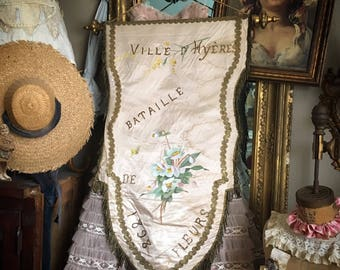 There Is Nothing More Charming Than An Antique Silk Banner With Painted Flowers & Bullion Trim