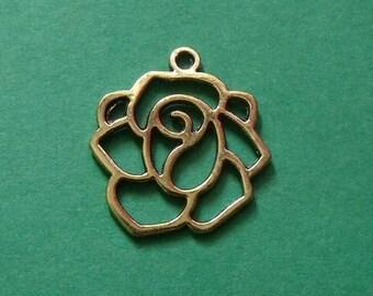 Golden Flower 20mmx19mm 2 pendants