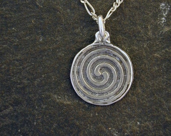 Sterling Silver Spiral Pendant on a Sterling Silver Chain