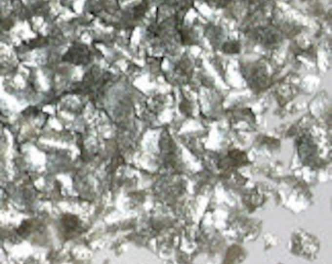 Metallic Silver Edible Glitter - metallic shimmer flake sprinkles for cupcakes, cookies, cakes