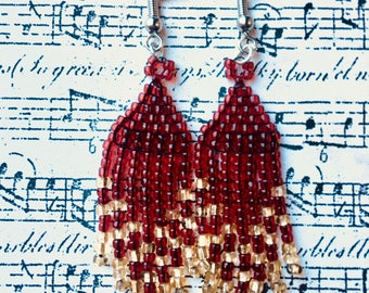 Red and Gold Christmas Inspired Seed Bead Earrings