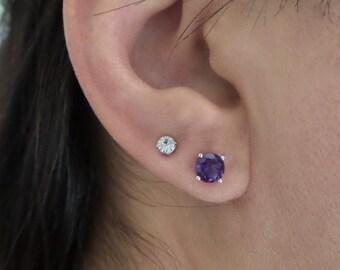 Amethyst Earrings / 14k Gold Amethyst Studs / Genuine Amethyst Earrings/ Dainty Prong Set Amethyst Earrings / February Birthstone/ PurpleGem