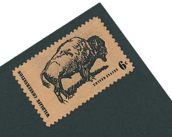 Pack of 25 Unused Buffalo Stamps - 6c - Vintage 1970 - Wildlife Conservation - Quantity of 25