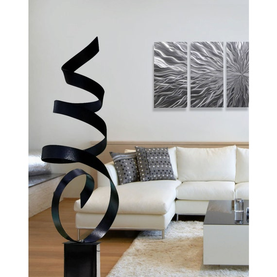 Black Modern Metal Sculpture Yard Art Large Abstract