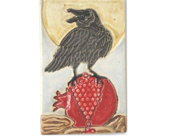 Raven Pomegranate Arts and Crafts Handmade Decorative 4x6 MUD Pi Tile