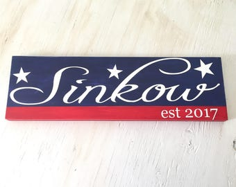 Patriotic Family Last Name Sign - America Red White & Blue - Patriotic Home Decor - Last Name Sign - Americana Sign - Summer Decor