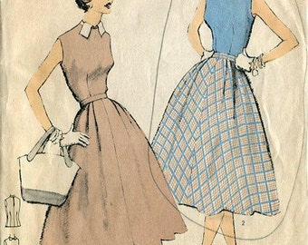 FREE US SHIP Vintage 50's Sewing Pattern Edna Bishop Advance Sew-Easy 6651 Retro 1950's Designer Bust 35 Darted Blouse Skirt
