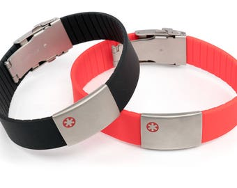 Medical Allergy ID bracelet, Emergency Alert wristband, Engraved Rubber bracelet, Sport Medical Id alert bracelet, SOS bracelet, Icetags