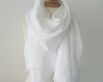 White Linen scarf - 100 % Linen scarf - Soft flax scarf - Snow White Shawl - Big White Woman scarf - Organic flax wrap - Gift for Mother