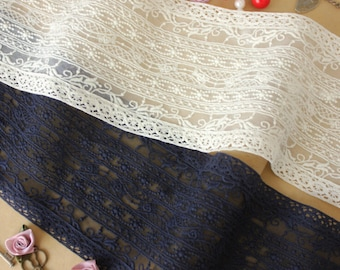 """2 Color High quality Navy blue  white  cotton mesh & lace Trim Wedding accessories by the yard - 4.33"""" wide 2.2 yards long-xp"""