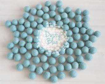 Wool Felt Balls - Size, Approx. 2CM - (18 - 20mm) - 25 Felt Balls Pack - Color Dusty Blue-2025 - Soft Blue Pom Poms - Pale Blue Felt Balls