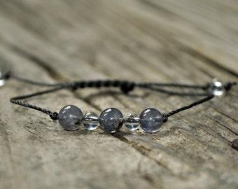 Taurus Energy, Iolite Bracelet, Clear Quartz Bracelet, Taurus Zodiac, Meditation Bracelet, Third Eye Chakra, Crystal Healing, Yoga Bracelet