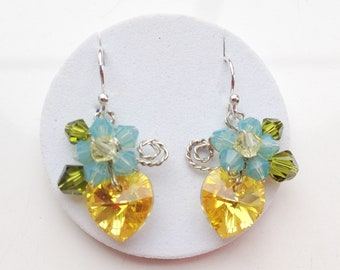 Lemon yellow dangle earrings, yellow jewelry , yellow earrings