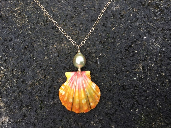 RARE Pink, Orange, Green, Multicolored, Hawaiian Sunrise Shell, Tahitian Pearl, 14k Gold Filled Chain Necklace