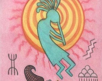 Kokopelli Sacred Spirit Symbol Petroglyph Portrait - Abundance and Fertility - by shamanic artist healer, Azurae Windwalker