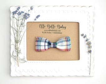 Plaid Bow Tie - Baby Bowtie - Ring Bearer Tie - Wedding Bow tie - Toddler Bow tie - Clip on Tie