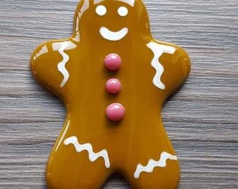 Gingerbread Man Tree Decoration, Christmas Decoration, Xmas Gift for Grandchildren, Festive Decor, Fused Glass