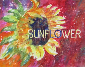 Original Watercolor - SUNFLOWER - Art by Rodriguez - Flower Art