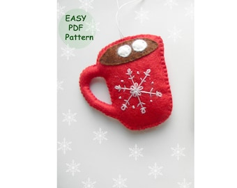 PDF pattern,  Felt Christmas ornaments pattern, Cup of cocoa pattern, easy sewing pattern, easy embroidery snowflake pattern
