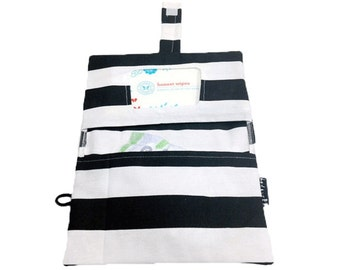 Rilos and MiMi Black & White Striped Diaper Clutch- Ready to Ship