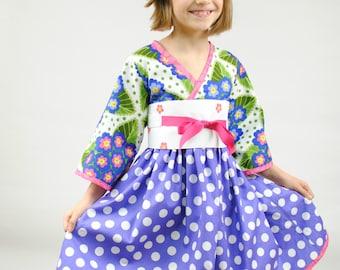 Girl's Kimono Dress, Easter dresses, Kimono, Easter Toddler dress, Japanese kimono, pink, purple, polka dot, size 2 - 8, boutique dresses